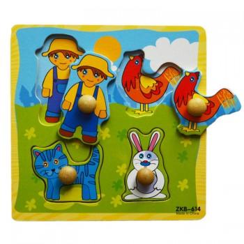 Деревянная игрушка WD599 вкладыши (Деревня)