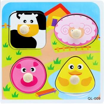 Деревянная игрушка WD599 вкладыши (Животные-1)