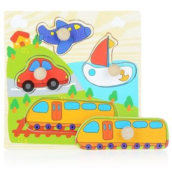 Деревянная игрушка WD599 вкладыши (Транспорт)
