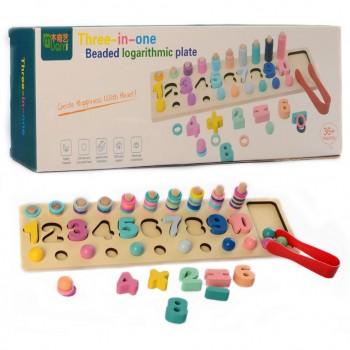 Деревянная игрушка Набор первоклассника MD 2278 фигуры, цифры, шарики