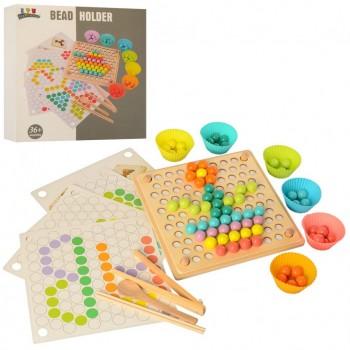 Деревянная игрушка Игра MD 2210  шарики, карточки, формочки, пинцет