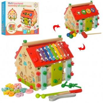 Развивающая игрушка домик с сортером и ксилофоном MD 2087 деревянный