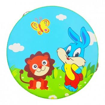 Деревянная игрушка Бубен MD 0367  15 см  (Кролик и Лев)