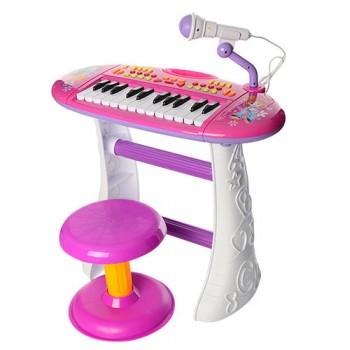 Детский синтезатор на ножках BB383BD со стульчиком (Розовый)