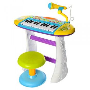 Детский синтезатор на ножках BB383BD со стульчиком (Голубой)