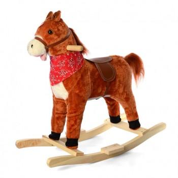 Детская качалка лошадка MP 2162 шевелит ртом и хвостом (Рыжый)