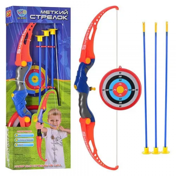 Детский лук M 0037 стрелы на присосках, мишень
