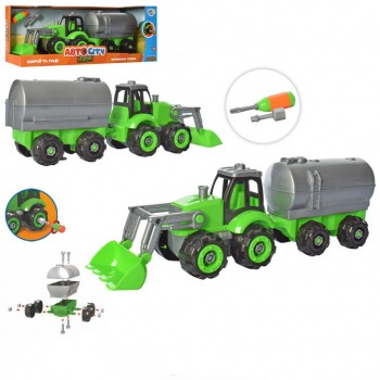 Детский трактор-конструктор с прицепом KB 064 отвертка в наборе