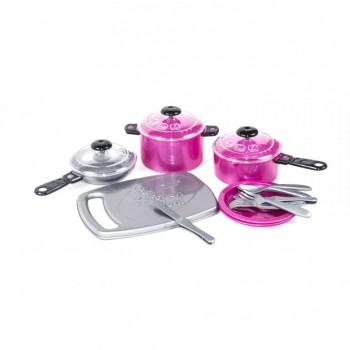 Детский игровой набор посуды 348OR пластиковый (Малиновый)
