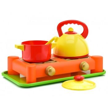 Детская игрушечная газовая плита 70408 с посудой