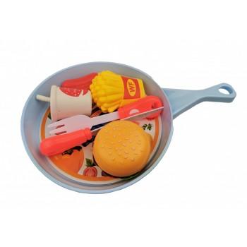 Игровой набор овощей и фруктов 666-58AB на сковородке (Голубой)