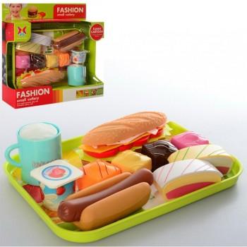 Детский игровой набор продуктов Фастфуд 326H-43 на подносе