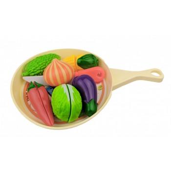 Игровой набор овощей и фруктов 666-58AB на сковородке (Бежевый)