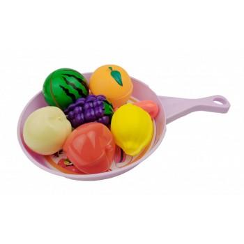 Игровой набор овощей и фруктов 666-58AB на сковородке (Фиолетовый)