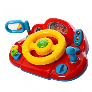 Детский игрушечный автотренажер-руль M 1377 U на укр. языке (Желто-красный)