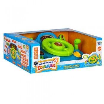 Детский игрушечный автотренажер-руль M 1377 U на укр. языке (Зелено-синий)