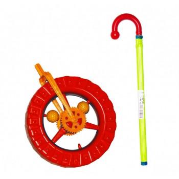 Детская каталка колесо на палке 1-014 с трещоткой (Красный)