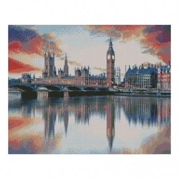 """Алмазная мозаика. Strateg FA20107 """"Отображение Лондона в Темзе"""" 40*50"""