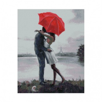 """Алмазная мозаика. Strateg FA10563 """"Влюбленная пара под зонтиком"""" 40*50"""