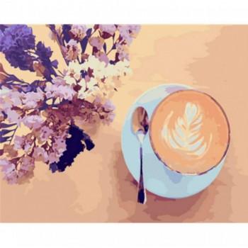 """Картина по номерам. Brushme """"Лавандовый кофе"""" 40*50см"""