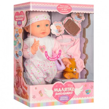 Детская интерактивная кукла пупс M 3885 мягконабивной ( 3885-4 UA)