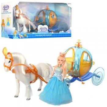 Игровой набор карета с лошадью и куклой типа Барби 258A на батарейках
