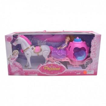 Игрушечная карета с лошадью и куклой 686-770/1 музыкальная (Pink)