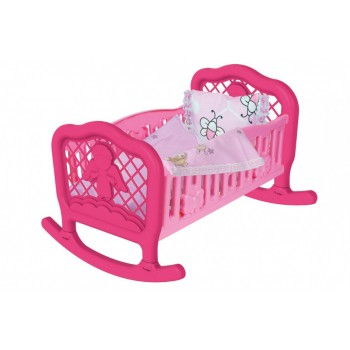 Игрушечная кроватка-колыбель для кукол 4524TXK с постельным бельем (Розовая)