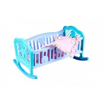 Игрушечная кроватка-колыбель для кукол 4524TXK с постельным бельем (Голубая)