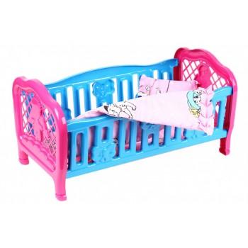 Кроватка для куклы 4494TXK с постельным бельем (Голубая)