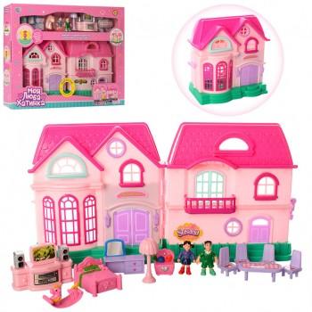 Детский игровой домик для кукол 16526D с куколками и мебелью