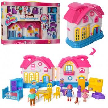 Домик для кукол 1203AB с мебелью и фигурками