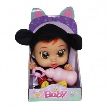 Кукла для девочек CRB 3360 с бутылочкой и соской (Черно-Красный)