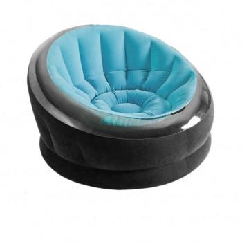 Надувное велюровое кресло 66582 до 100 кг (Голубой)
