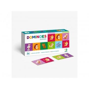Детская игра Домино Животные DoDo 300248, 28 карточек с рисунками