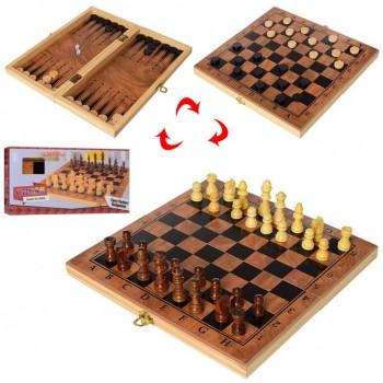 Деревянные Шахматы S3029 с шашками и нардами