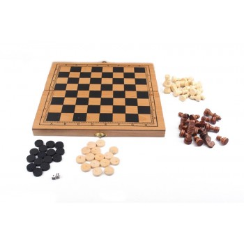 Деревянные Шахматы S3023 с шашками и нардами