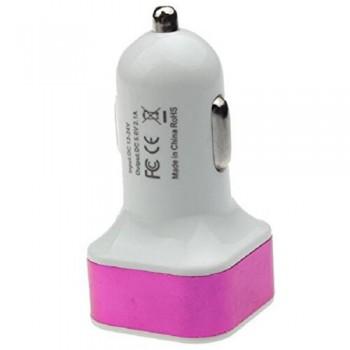 Автомобильный адаптер для зарядки 97095, 2-USB  2.1А/1.0 А  (Розовый)