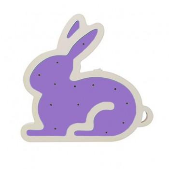 Деревянная игрушка Ночник MD 1566 на батарейках (Фиолетовый Кролик)