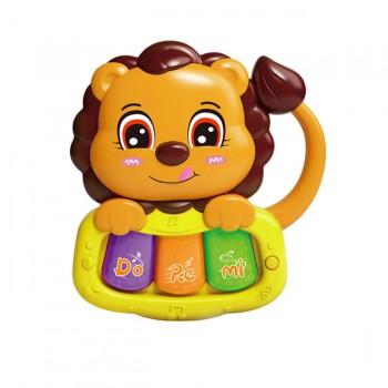 Детская интерактивная погремушка 855-58-59-60-61A с музыкой и светом (Лев Оранжевый)