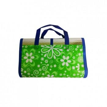 Сумка-коврик для пляжа и пикника GM18190 90*170 см (Бело-Зелёные Цветы)