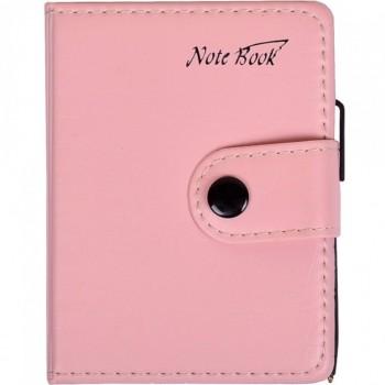 Блокнот 11*8см с ручкой в обложке кож/зам, клетка 63100 (Светло-Розовый)