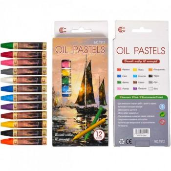 Набор восковых карандашей 12 цветов OIL PASTELS