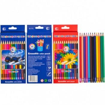 Детские эластичные карандаши для рисования с резинкой CR-777L 12 цветов