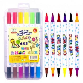 Набор двухцветных фломастеров 6 штук 12 цветов 8059-12 в пластиковом боксе